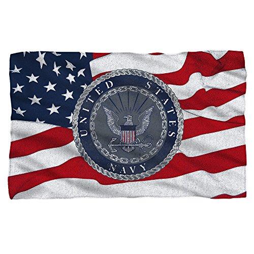 U.S. Navy Flag Seal Fleece Throw Blanket (36