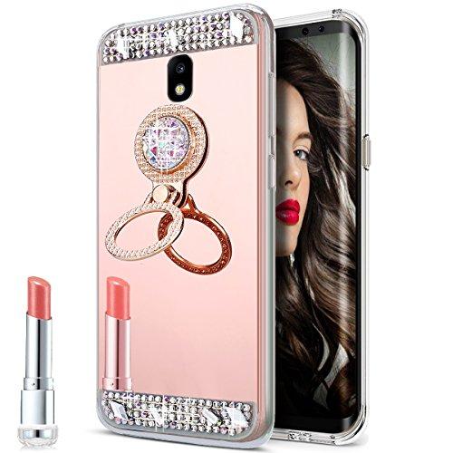 Galaxy J7 Pro Case,Galaxy J7 Pro Mirror Case, Slim Luxury Rhinestone Diamond Glitter Bling Mirror Back Soft TPU Protective Case with Ring Stand Holder for Galaxy J730 J7 Pro (2017),Rose Gold