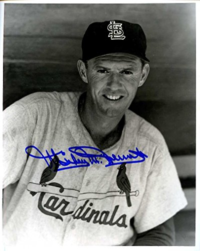 (Mickey McDermott (D. 2003) Autographed/ Original Signed 8x10 B&W Photo Showing Him w/ the St. Louis Cardinals)