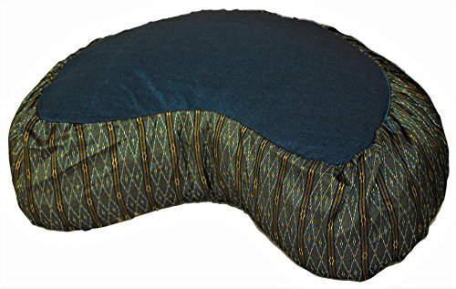 Meditation Cushion Crescent Zafu - Global Weave Teal
