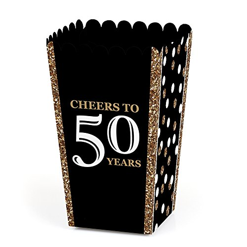 50th Anniversary Favor Boxes - Big Dot of Happiness Adult 50th Birthday - Gold - Birthday Party Favor Popcorn Treat Boxes - Set of 12