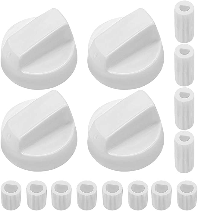AMI PARTS White Oven Control Switch Knob with 12 Adapters Universal Knobs for Oven/Stove/Range