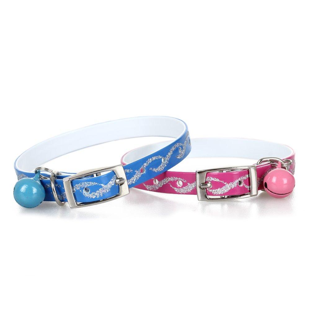 2 Adjustable Cat Kitty Kitten Reflective Collar w/ Bell lgking supply
