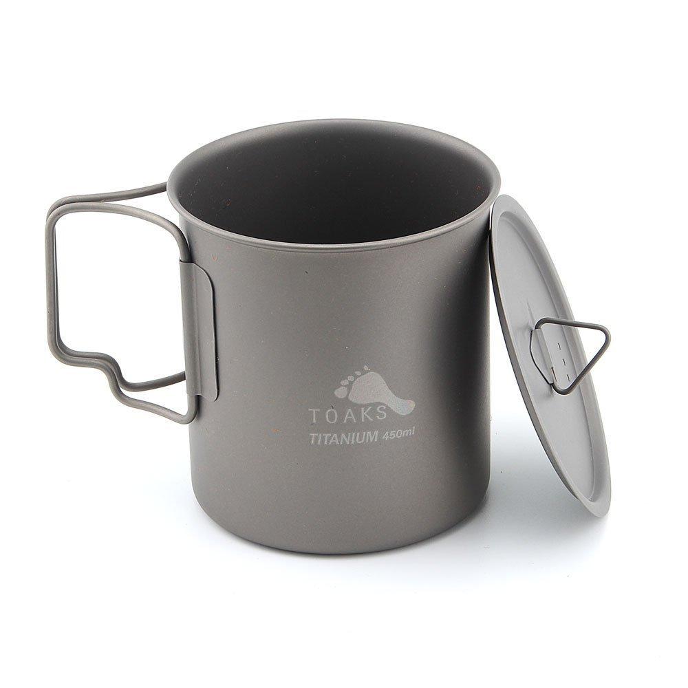 TOAKS cup-450ultraligero al aire libre vajilla taza de titanio plegable mango taza de agua, With Lid