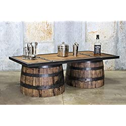 Repurposed Up-cycled Whiskey Barrel COFFEE Table || Reclaimed Barn Wood Top || Bourbon Collection