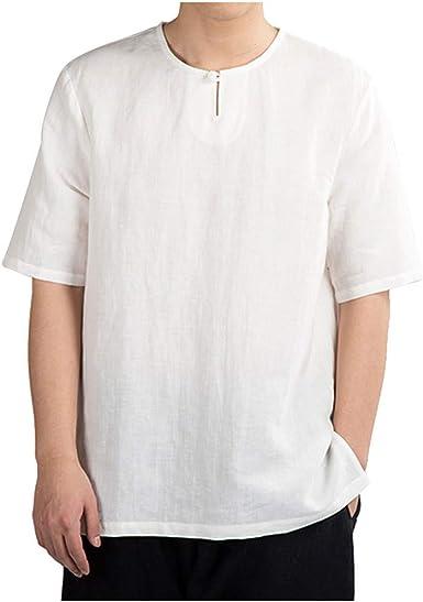 VJGOAL Camisa de hombre Slim Fit Lino Camisas de hombre Mangas cortas blancas Camiseta de hombre