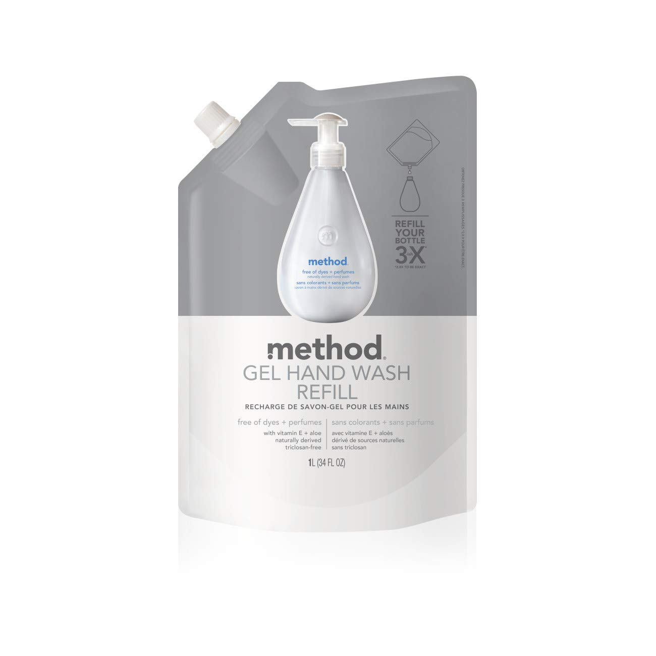 Method Gel Hand Wash Refill Pouch, Free of Dyes + Perfumes, 34 Fl. Oz (Pack of 1)