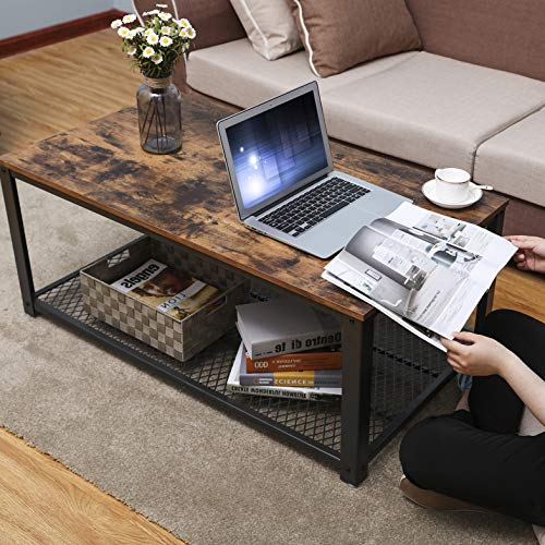 """VASAGLE Industrial Coffee Table with Storage Shelf for Living Room, Wood Look Accent Furniture with Metal Frame, Easy Assembly, Rustic Brown ULCT61X, 41. 8"""" L x 23. 7"""" W x 17. 7"""" H"""