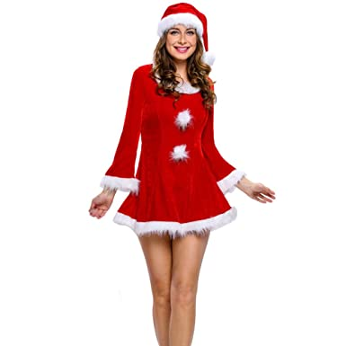 Amazon Com Ruimeier Women Santa Costume Christmas Dress With Santa