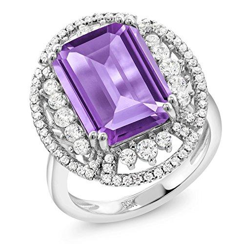 Purple Amethyst Emerald - 7.77 Ct Emerald Cut Purple Amethyst 925 Sterling Silver Ring
