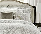 Nicole Miller Home Full Queen Duvet Cover and Shams Set, Gray Taupe Paisley Moroccan Medallion Print