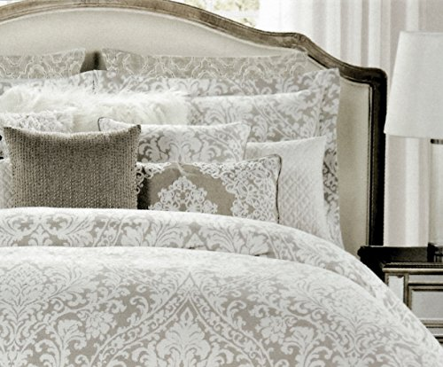 (Nicole Miller Home Full Queen Duvet Cover and Shams Set, Gray Taupe Paisley Moroccan Medallion Print)