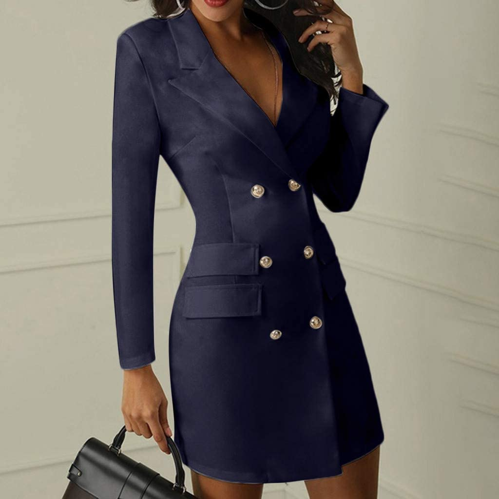 PKTOP Damen Doppelreiher Kn/öpfe Milit/ärstil lang B/üro Business Blazer Kleid