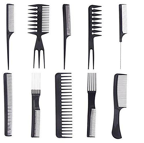 homiki Lot de 10pcs Professionnel Coiffeur Barbiers Peignes de Coiffure Pro pour Salon Coiffeur - Noir PG