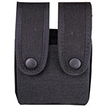 Uncle Mikes Cordura Double Pistol Magazine Case - Snap Black Double Row Md: 88361.