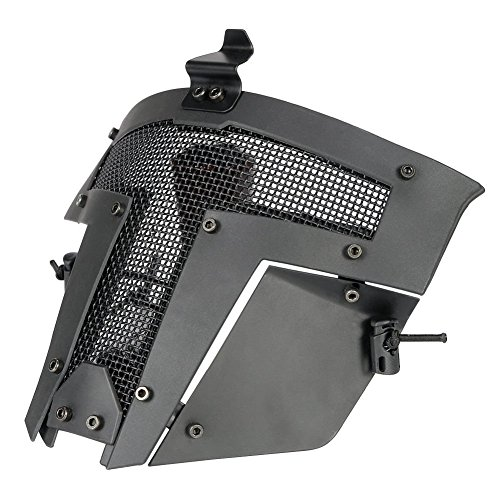 Airsoft Mask Full Face FAST Tactical Helmet Mask War Game Steel Mesh Protective Mask for Hunting Paintball CS Game BB Gun Shooting Halloween 4 (Fett Prop)