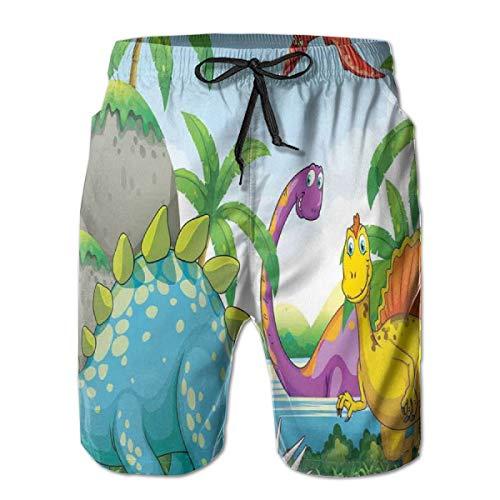 Men Swim Trunks Beach Shorts,Dinosaurs Living in The Jungle Illustration Palm Trees Lakeside Stones Fun Artwork XXL (Shops Lakeside Sofa)