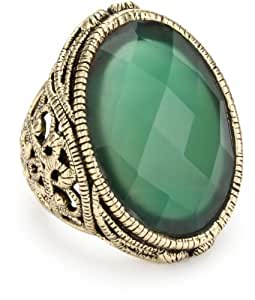 "Barse ""Lace"" Faceted Green Onyx Ring, Size 6"