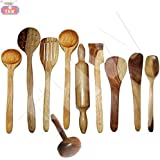 Wooden Cooking & serving Spoon Set of 10 Pcs | Wooden Kitchen Tools, Spatula and Ladle Set Includes 1 Skimmer(Jhara), 2 Ladles(Karchchi), 1 Slotted Palta, 1 Chapati Spoon(Palta), 1 Rice Palta, 1 Chapati Rolling Pin(Belan), 1 Spatula, 1 Masher & 1 Serving Spoon