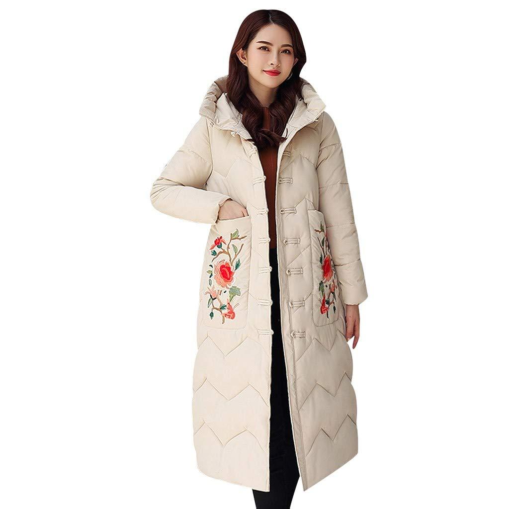 Fashionhe Women Hooded Outwear Winter Warm Jacket Floral Embroidery Windbreaker Coat Overcoat(White.L) by Fashionhe