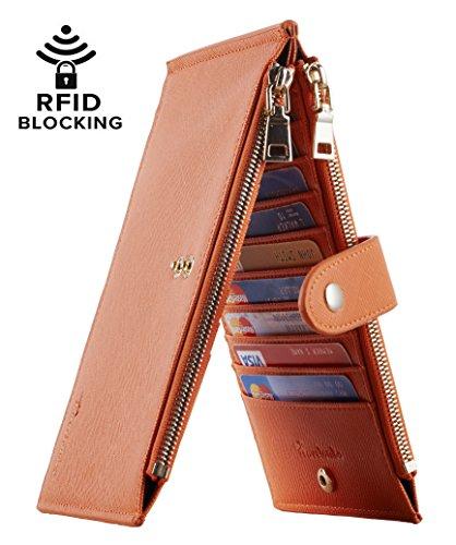 Travelambo Womens Walllet RFID Blocking Bifold Multi Card Case Wallet with Zipper Pocket (CH Orange 3243)
