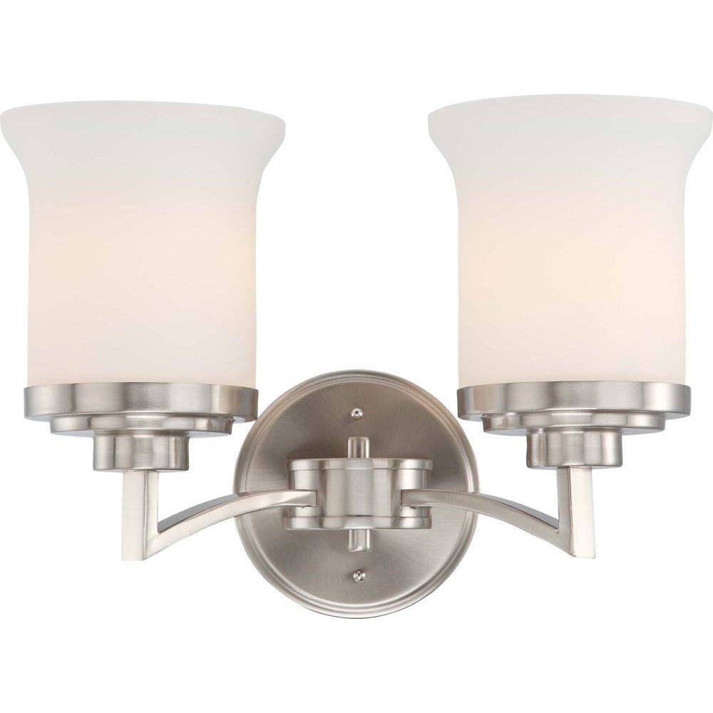 2ライト – Vanity – 器具 – サテンホワイトガラス B00M5UDC8U