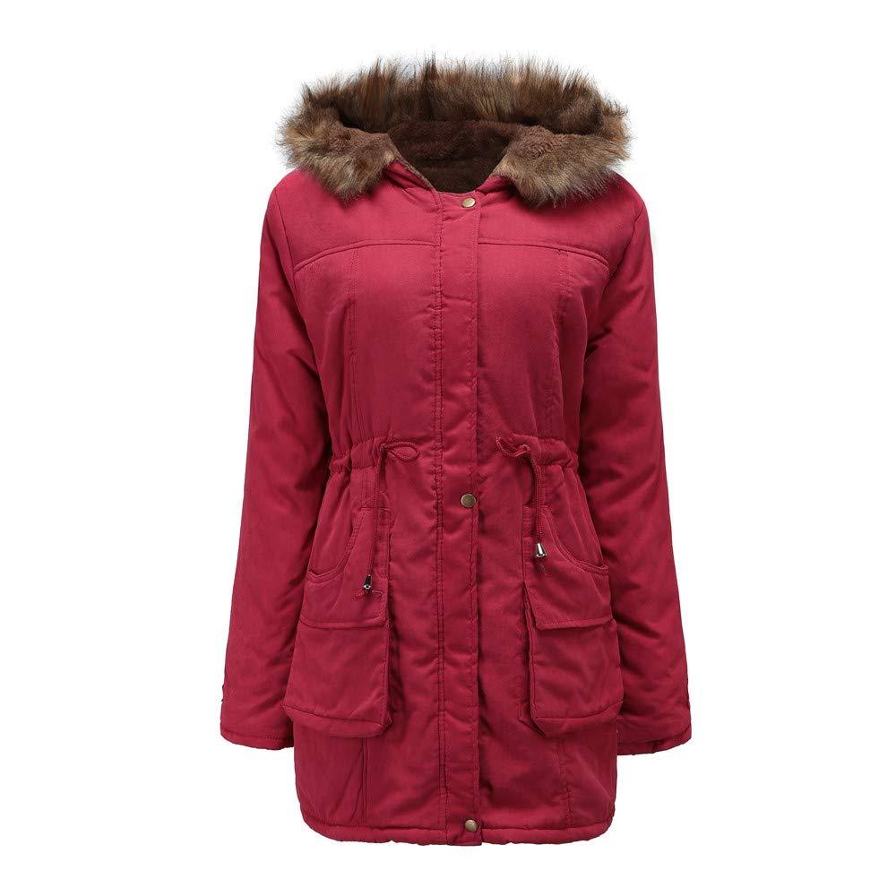 XOWRTE Women's Cotton Warm Fur Collar Long Sleeve Winter Hooded Parka Jacket Outwear Coat