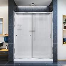 DreamLine Infinity-Z 32 in. D x 60 in. W Frosted Sliding Shower Door in Chrome with Left Drain White Base and Backwall, DL-6117L-01FR