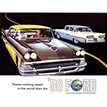 CLASSIC, FULLY ILLUSTRATED 1958 FORD PASSENGER CAR DEALERSHIP SALES BROCHURE - ADVERTISMENT Includes Custom Series, Custom 300 & Fairlaine Series, Fairlane 500 - Wagons, Convertible - 55