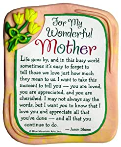 Blue Mountain Arts For My Wonderful Mother by Jason Blume Sculpted Resin Magnet (MR924)
