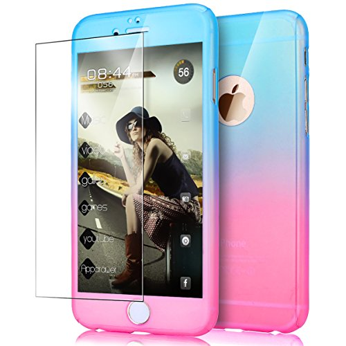 iPhone 6S Plus Case,iPhone 6 Plus Case,ikasus [Tempered Glass Protector] Luxury Gradient Color Ultra-thin Shockproof PC Anti-Slick Full Body Protective Bumper Case for iPhone 6S/6 Plus 5.5