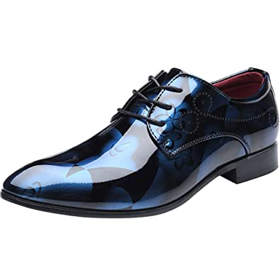 Mens British Faux Leather Brogue Shoes Formal Business Wedding Oxfords Point Toe