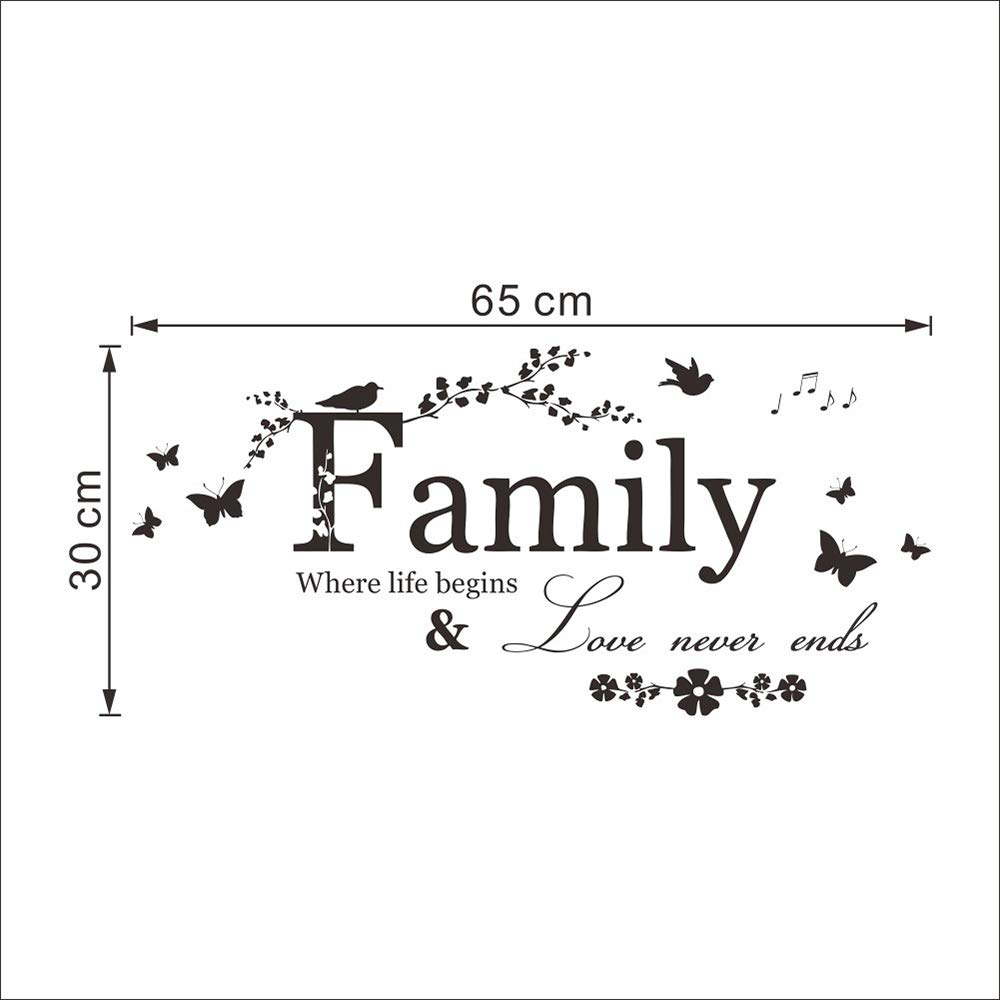 Potelin Wall Decor Stickers Quotes Love Never Ends Flower Family Quote Wall Stickers Vinyl Decals by Potelin (Image #3)