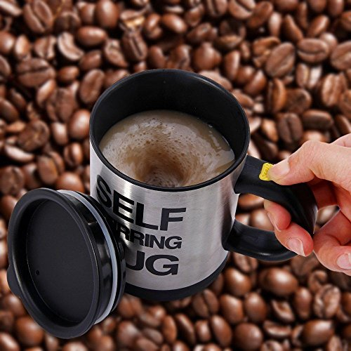 Self Stirring Coffee Mug (Black/Silver) - 9