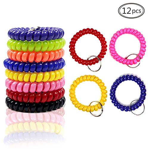 LoveS 12Pcs Colorful Coil Stretch Wristband Keychain for Gym, Pool, ID (Spiral Bracelet)