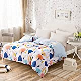 LAWQTVCDHJY Modern Minimalist style Striped flowers/Floral 100% Cotton Quilt Cover-W 160x210cm(63x83inch)