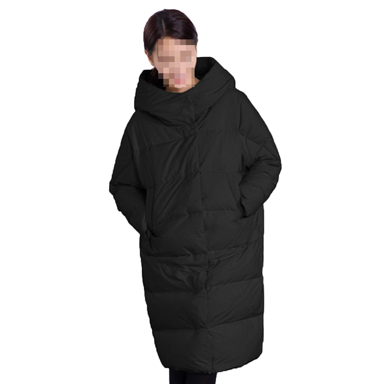 Black Winter Jacket Women Long Thick Warm Hooded Women's Down Jacket Windproof Loose Coat Outwears