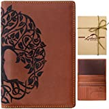 Lethnic Leather Passport Holder Cover Case RFID Blocking Travel Wallet (Tree of Life) (Brown)