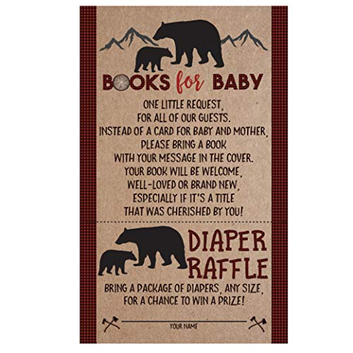 Lumberjack Baby Shower Bear Book Request Diaper Raffle Card, Lumberjack Book Request Card, Bear Diaper Raffle Card, 50 Count