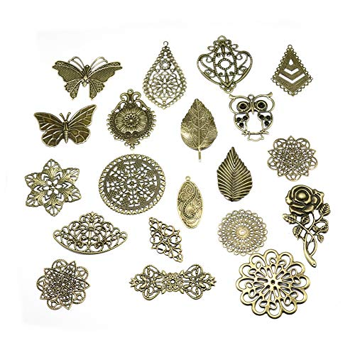 Beadthoven 120-Piece Iron Filligree Findings Charms 20 Different Styles Jewelry Charms for Making Necklaces Bracelets Earrings Crafts Nickel Free Antique Bronze Color ()