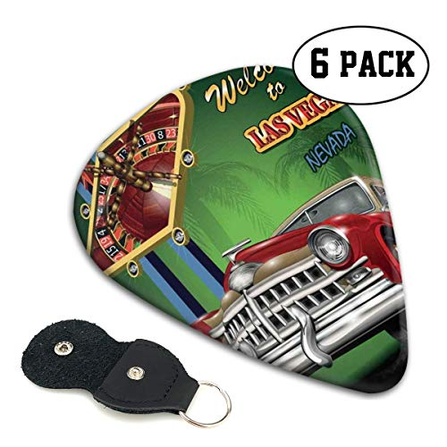 Guitar Picks 6 pcs,Welcome Sign To Nevada With Retro Car And Roulette Table On Palm Tree ()