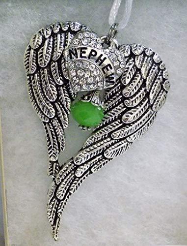 Nephew Memorial Angel Wings Christmas Ornament w/Crystal Heart & Green Bead Charm - Nephew Ornament