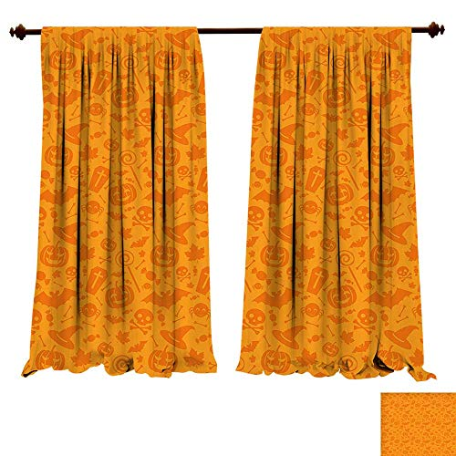Room Darkening Thermal Insulated Monochrome Design with Traditional Halloween Themed Various Objects Celebration Day Orange Blackout Curtain for Living Room (W96 x L107 -Inch 2 -
