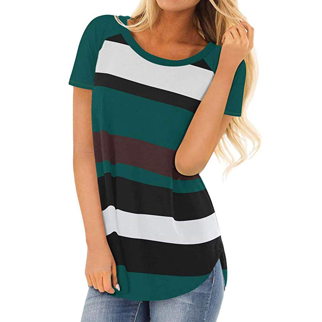 Womens Short Sleeve Round Neck T Shirts Color Block Striped Casual Blouses Tops (L, Green)