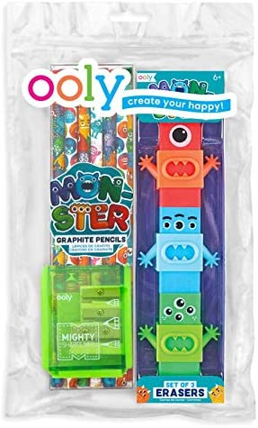 Ooly Happy Pack, lápices de grafito + sacapuntas + gomas de borrar ...