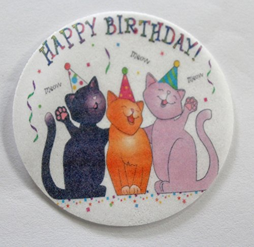 MAKCreationsCakeSupply Birthday Cats Edible Wafer Cupcake/Cookie Toppers ~ Pre Cut 2 1/2