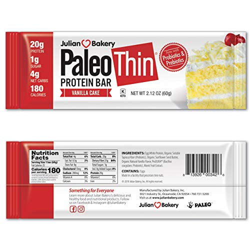Julian Bakery Paleo Thin Protein Bar - Vanilla Cake 20g Egg White Protein (1g Sugar : 4 Net Carbs : 180 Cal) (Gluten-Free)(12 Bars) ()