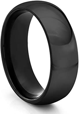 Men/'s Tungsten Wedding Band Dome Black Tungsten Ring Zebra Pattern Carved Design Comfort Fit Tungsten Anniversary Band TN603PL
