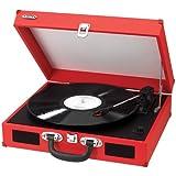 Jensen JEN-JTA-410-RED Portable 3-Speed Turntable w/ Speakers -
