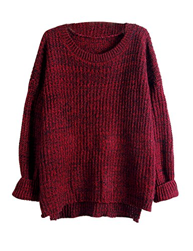 Chunky Knit Jumper (Ladies Thick Knitted Plain Chunky Top Knit Jumper For Spring Autumn Fall Winter (Wine Red))